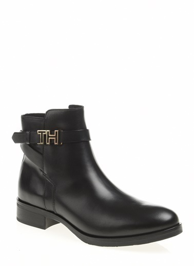 Tommy Hilfiger Kadın Th Hardware Leather Fl Bot FW0FW04280 Siyah